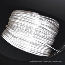 Ruban lumineux réfléchissant élastique argenté et blanc