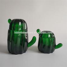 Conjunto de Jarra de Bolinho Cactus Elegante em Vidro Verde