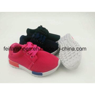 As sapatas unisex da injeção da lona das crianças da cor pura, atam acima sapatas do esporte com Outsole do PVC (FFST-002)