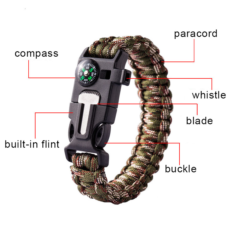 Paracord Survival Bracelet With Flint