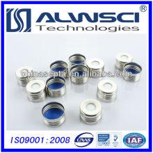 Septo de silicone de 17,5 ptfe com tampa metálica de 18 mm de tampa superior de prata pré-montada
