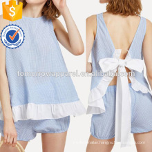 Contrast Ruffle Trim Knot Back Top With Shorts Manufacture Wholesale Fashion Women Apparel (TA4089SS)