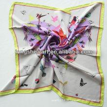 Cachecol de seda de sarja de impressão de pássaro SB080-001