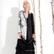 Abrigo de mujer de lentejuelas plateadas de estilo delgado de alta calidad