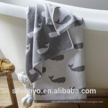 Vente chaude jacquard jacquard requin poisson serviette de bain BTT-044