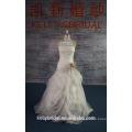 415A-05 Ivory SOMENTE 1pcs Em estoque 42 # Luxuoso vestido de noiva Ruffle com Organza Flower Sash Vestido de noiva barato para mulheres Weddng