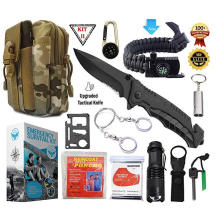 Professional emergency Survival Gear Tool kit SOS Tactical Flashlight Molle Pouch for Camping Adventures