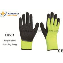 Acrylic Shell Napping Forro Látex recubierto Acabado arrugado guante de trabajo de seguridad (L6501)