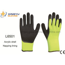 Acrylic Shell Napping Lining Latex Coated Crinkle Finish Safety Work Glove (L6501)