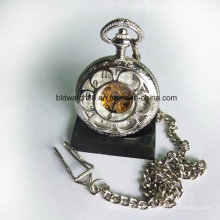 Flower Shaped Skeleton Mechanical Pocket Watch Alloy