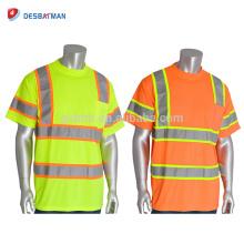 OEM Hi Vis Viz Orange Lime Security Industrial Work Camisetas High Visibility Reflectante Crew Neck Safety Workwear con bolsillo