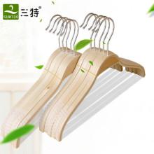 Natural color thin plywood pajamas display hanger with anti slip strips