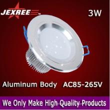 3W llevó el downlight abajo de la luz ligera del panel Material de aluminio del PWB