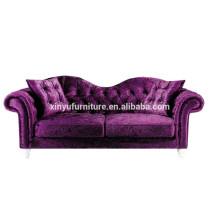 Modern unique backrest purple velvet hotel sofa XYN1037