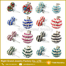 New fashion colorful crystal paved shamballa ear Studs pendant charms