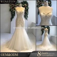 high-quality sweetheart neckline lace appliqued mermaid wedding dress
