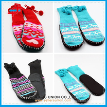 Winter Knitted Fuzzy Thick Home Indoor Warm Anti-Slip Stripe Socks