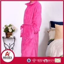 100% polyester embossed coral fleece hotel bathrobe