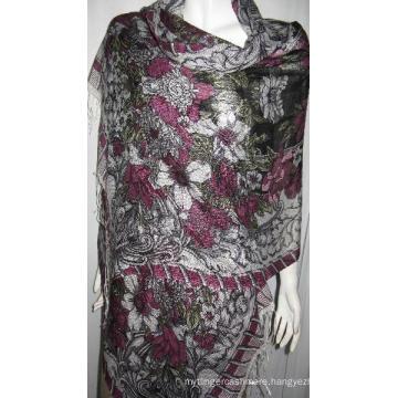 50% Silk 50% Wool Print Shawl Img_0014