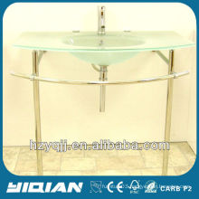 Modern Designer Bathroom Sink Curved Basin Bowl with Trap and Waste Front Frosted Clear Glass Wash Basin Vanity