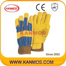 Guantes de trabajo de invierno de seguridad de cuero de cerdo amarillo (21302)