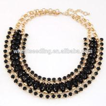 Pop exaggerated hand woven gem short black choker necklace