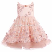 2017 robe de fille de fleur de couleur rose pour le mariage princesse bouffie à la main bébé fille robe d'été