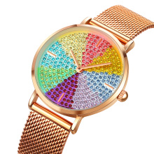SKMEI 1811 Women's Analog Watch with Colorful Crystal Accented Leather Strap Watch