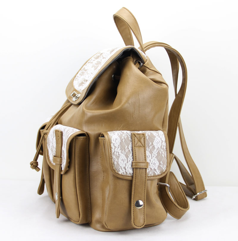 Khaki Pu Lace Backpack