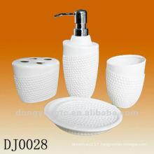 4 PCS ceramic bathroom set with embossment