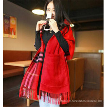 Hot Sale Red Check Fringe Femmes Wool Pashmina Shawls