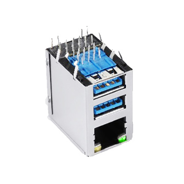 RJ45 MET TRANSFORMATORJACK + USB3.0 GY LED
