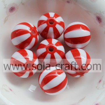 Red Watermelon Striped 16MM 500Pcs Decorative Curtains  Loose Charm Necklace Designs Gemstone Wholesale Shamballa Bead