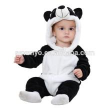 Bébé doux Barboteuse Animal Onesie Costume Cartoon Outfit Homewear dormir porter, flanelle, mignon panda, mignon à capuchon serviette