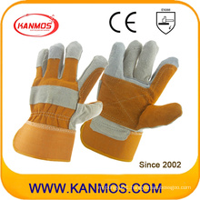 Yellow Cowhide Split Industrial Safety Leather Work Gloves (11017)