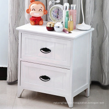 Modern white solid wooden night stand with 2 drawers