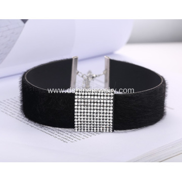 Rhinestone Centre Section Velvet Choker Fur Leather Necklace