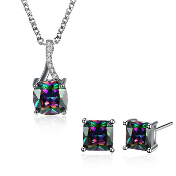 Ensembles de bijoux à la mode Collier en zircon carré coloré Boucles d'oreilles plaqué platine