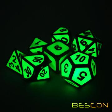 Bescon Super Glow in the Dark Metal Polyhedral D&D Dice Set of 7 Luminous Metallic RPG Role Playing Game Dice 7pcs Set D4-D20