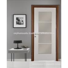 Porte vitrée intérieure pliante Pvc avec feuille blanche, cadre en bois et jambe