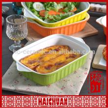 Bakeware servieren Gericht billig Porzellan Platte quadratisch verglast