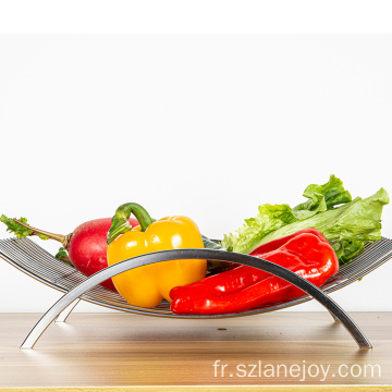 Modern Style Kitchen Silver Stainless Steel Wire Fruits Bowl Vegetables Storage Creative Fruit Basket