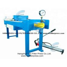 Manuelle hydraulische Filterpresse, kleine manuelle Operation Kammerfilterpresse Entworfen von Leo Filter Press