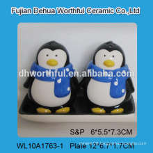Cute ceramic penguin salt and pepper set for restaurant