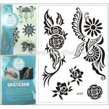 Dentelle noire jarre tatouages idées soleil fleurs faux tatouages temporaires design spécial pour adulte j029