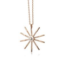 Новые горячие 2016 Дешевые равнины 18k позолоченные радость ВС циркон и жемчужное ожерелье