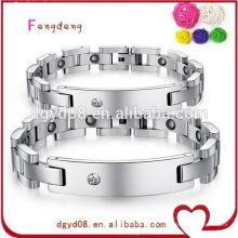 China atacado moda magnética pulseira de aço inoxidável jóias para casal