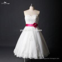 RSW785 Sweetheart Neckline Puffy Skirt Short Country Wedding Dresses With Plum Belt