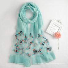 2017 wholesale Fashion embroidery indian blend silk scarf/silk shawl