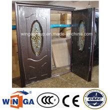 Double Doorleaf Exterior Podler Beschichtung Sicherheit Stahl Glastür (W-SD-10)